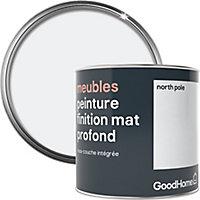 Peinture de rénovation meubles GoodHome blanc North Pole mat profond 0,5L