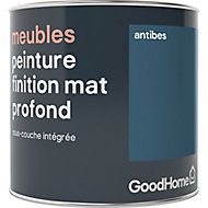 Peinture de rénovation meubles GoodHome bleu Antibes mat profond 0,5L