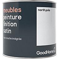 Peinture de rénovation meubles GoodHome blanc North Pole satin 0,5L