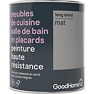 Peinture haute résistance meubles de cuisine salle de bain et placards GoodHome gris Long Island mat 0,75L
