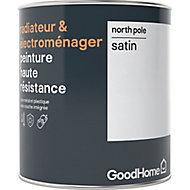 Peinture haute résistance radiateur et électroménager GoodHome blanc North Pole satin 0,75L