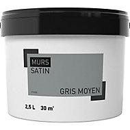 Peinture murale gris moyen satin 2,5L