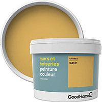 Peinture murs et boiseries GoodHome jaune Chueca satin 2,5L