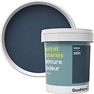 Peinture murs et boiseries GoodHome bleu Vence satin 0,75L