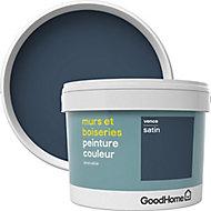 Peinture murs et boiseries GoodHome bleu Vence satin 2,5L