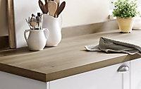 Plan de travail en stratifié aspect bois rustique GoodHome Kabsa 300 cm x 62 cm x ép. 3.8 cm
