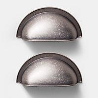 Poignée de meuble de cuisine GoodHome Alkanet Argent L. 9.8 cm, 2 pièces