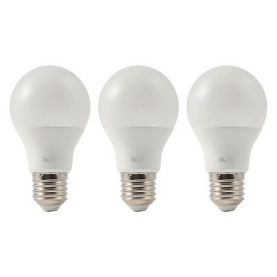 3 ampoules LED Diall GLS E27 9 7W=60W blanc chaud