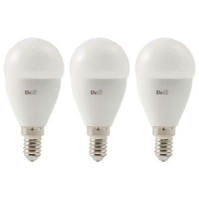 3 ampoules LED Diall mini globe E14 5 7W=40W blanc chaud