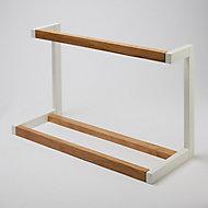 Porte-serviettes 2barres Nantua bois naturel et blanc GoodHome 60 cm