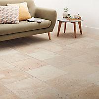 Carrelage sol beige 40 x 40 cm Travertino