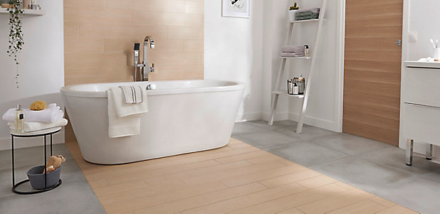 Carrelage sol gris 60 x 60 cm Smooth (vendu au carton)