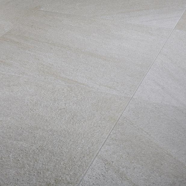 Carrelage sol beige 60 x 60 cm Quartzite (vendu au carton)