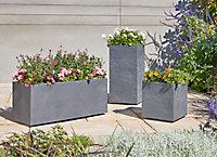 Bac carré plastique Blooma Volcania gris foncé 38,7 x 38,7 x h. 41 cm