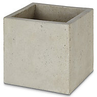 Pot carré ciment Blooma Hoa gris clair 30 x 30 x h.30 cm