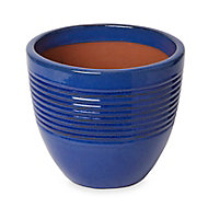 Pot rond céramique Blooma Tiwlip bleu à rayures ø27 x h.24,5 cm
