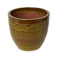 Pot rond céramique Blooma Tiwlip vert à rayures ø27 x h.24,5 cm