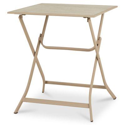 Table de jardin métal carrée Blooma Aronie sable 62 5 x 62 5 cm