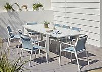 Table de jardin en aluminium et verre Bacopia blanche 200/300 x 100 cm