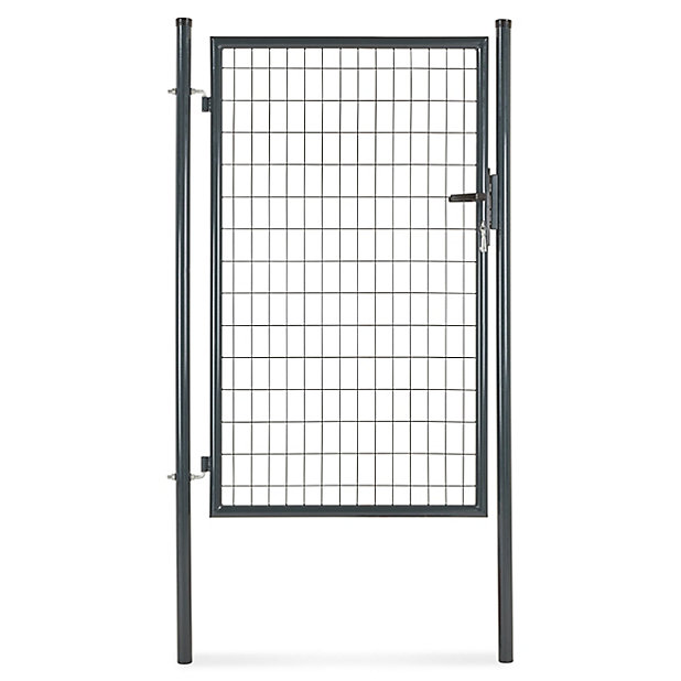 Portillon Pour Cloture Grillagee A Poteaux Ronds Gris 100 X H 150 Cm Castorama
