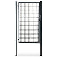 Portillon pour clôture grillagée à poteaux carrés Blooma gris 100 x h.170 cm