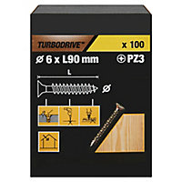 Vis à bois Turbodrive Premium pozidriv zinguée jaune 6x90 mm - 100pièces