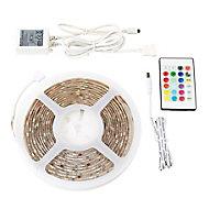Ruban lumineux LED Colours Driggs 5m IP20 RVB et blanc neutre + télécommande