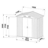 Abri de jardin métal Blooma Basic, 1,8 m² ép.0,3 mm