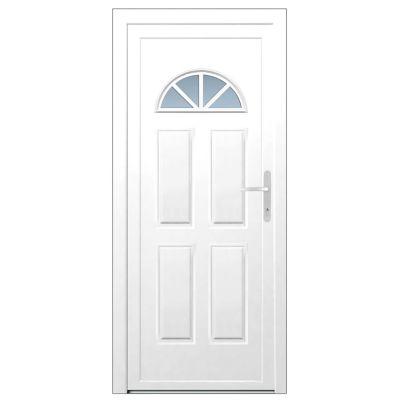 Porte d'entrée pvc Makalu Demi lune blanc 90 x h.215 cm poussant gauche