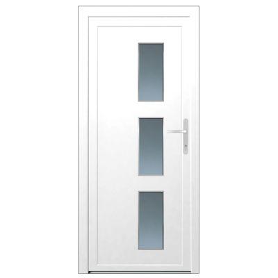 Porte d'entrée pvc Denali blanc 90 x h.215 cm poussant droit