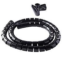 Gaine range-câbles en spirale Diall noir ø25 mm x 1,1m