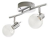 Réglette 2 spots Panacea métal/verre chrome LED 2x5 W