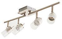 Réglette 4 spots Rhigos métal/verre chrome LED 4x3,5 W