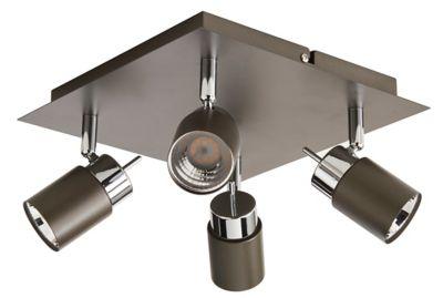 Plafonnier 4 spots Hades métal gris/chrome LED 4x3 5 W