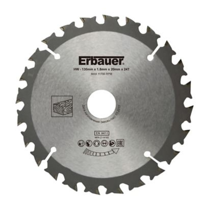 Lame de scie circulaire Bois Erbauer Ø130 x20/16 coupe grossière 24 dents