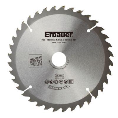 Lame de scie circulaire Bois Erbauer Ø150 x20/16/12 75/10 coupe moyenne 36 dents