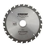 Lame de scie circulaire Bois Erbauer Ø184 x30/20/16 coupe grossière 24 dents