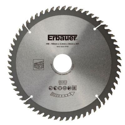 Lame de scie circulaire Bois Erbauer Ø190 x30/25/20/16 coupe fine 60 dents