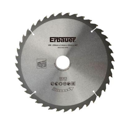 Lame de scie circulaire Bois Erbauer Ø230 x30/25/20 coupe moyenne 40 dents