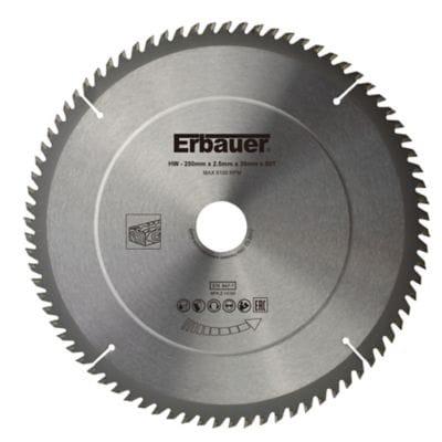 Lame de scie circulaire Bois Erbauer Ø250 x30/25/20/16 coupe fine 80 dents