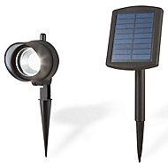 Spot solaire à piquer LED Blooma Bridger noir H.34 cm