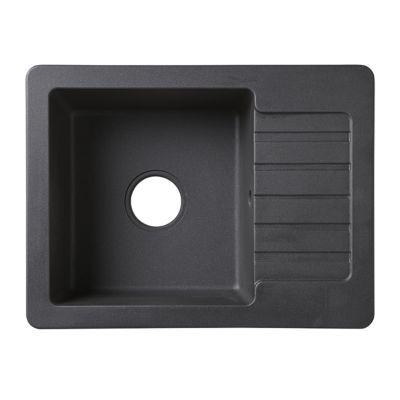 Évier à encastrer granit noir Burnell, 1 bac - Nom du modèle : Burnell - Matière principale : Granit - Finition : Métallisé - Coloris : Noir - Largeur (cm) : 44 - Longueur (cm) : 58 - Profondeur (cm) : 16,3 - Dimensions encastrement (cm) : L. 56 x P. 42 -
