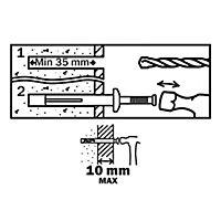 10 chevilles à frapper Diall métal PZ Ø6x40mm