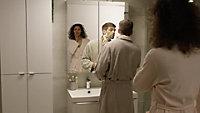 Meuble sous vasque à suspendre GoodHome Imandra taupe 120 cm + plan de toilette Marloes