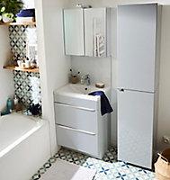 Meuble sous vasque à poser GoodHome Imandra gris 60 cm + plan vasque Nira
