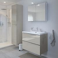 Armoire de salle de bains GoodHome Imandra taupe L.40 x H.90 x P.36 cm