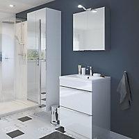 Armoire de salle de bains GoodHome Imandra blanc miroir L.60 x H.90 x P.36 cm