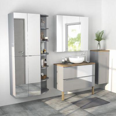 Armoire salle de bains gris miroir Imandra 60 x 90 x 36 cm