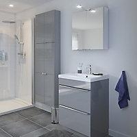 Armoire de salle de bains GoodHome Imandra gris L.60 x H.60 x P.15 cm