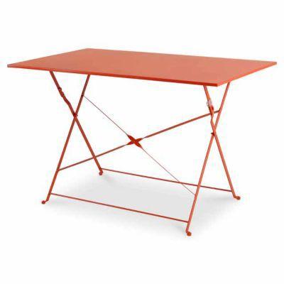 Table de jardin Saba rouge vermillon pliante 110 x 70 cm ...